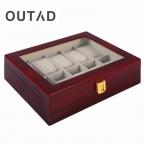 Роскошные 10 сетки однотонные красные деревянные часы, шкатулки Дисплей Организатор Дело часы коробка для хранения Caja Reloj