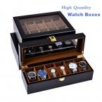 Европейский стиль черные часы коробки моды дерева и кожи часы коробка для хранения оптовая часы украшения подарок витрины W28-38-46