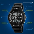 SKMEI Марка Спортивные часы модные Повседневное Часы Для мужчин S-шок кварцевые наручные часы Аналоговые Военная Униформа СВЕТОДИОДНЫЙ символьный Часы Montre homme